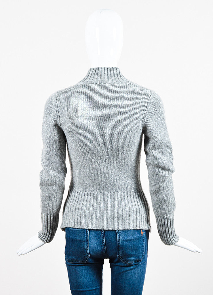 Grey Brunello Cucinelli Cashmere Rib Knit Fitted Button Cardigan Backview