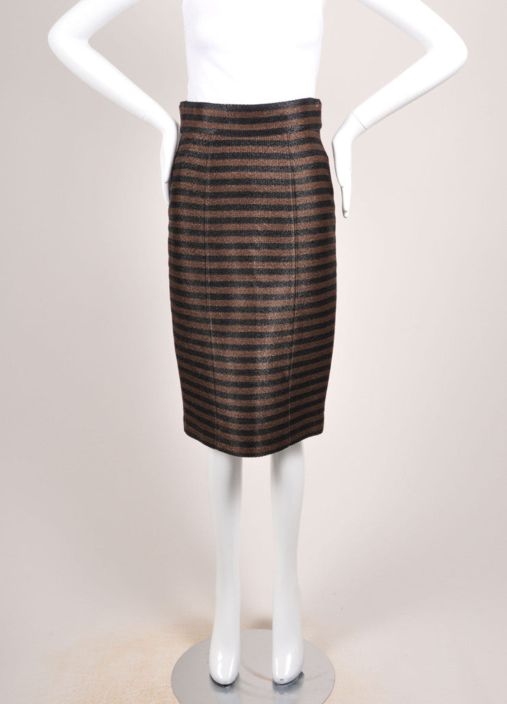 Burberry Porsum Brown and Black Straw Knit Stripe High Waist Pencil Skirt Frontview