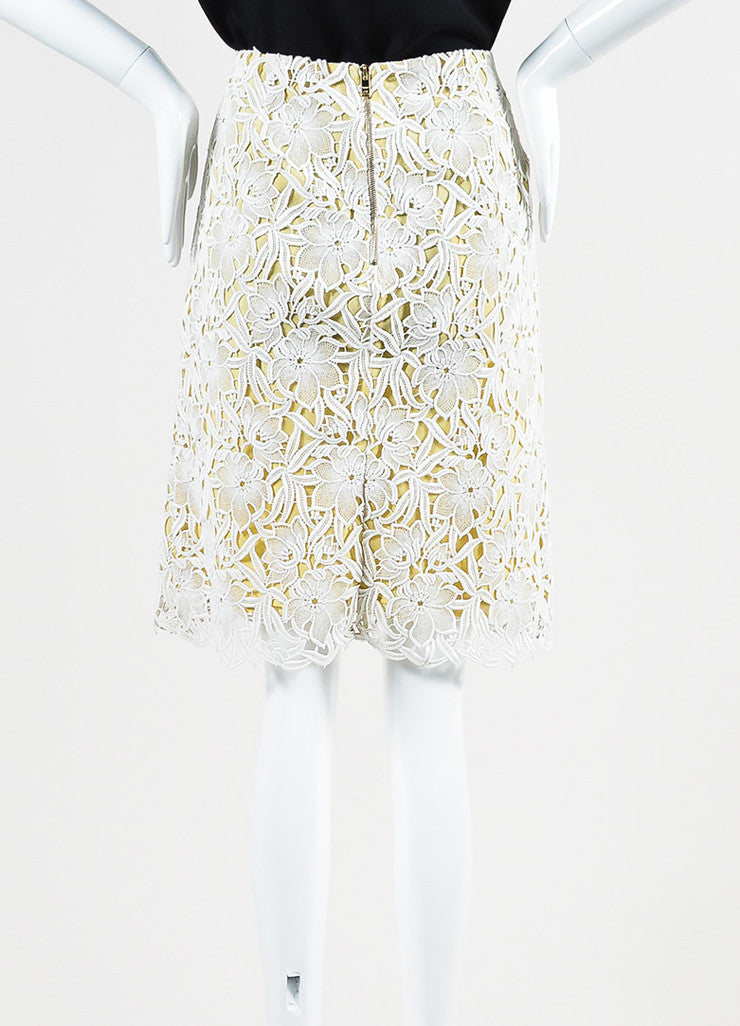 White Beige Burberry Prorsum Lace Overlay A-Line Skirt Back