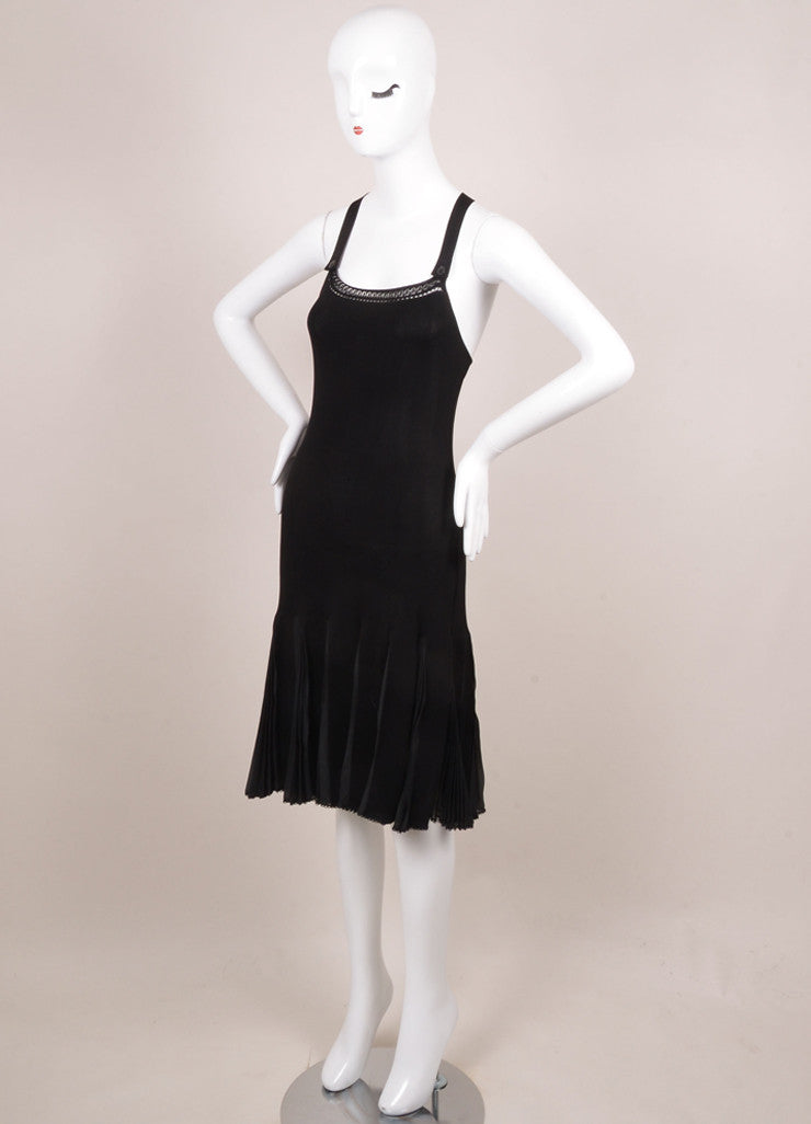 Chanel Black Knit Pleated Sleeveless Dress Sideview