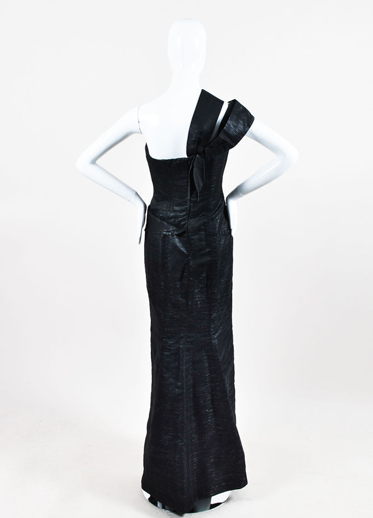 "Dark Grey and Metallic Silver Carolina Herrera Bow Detail ""Diana"" Gown Backview"