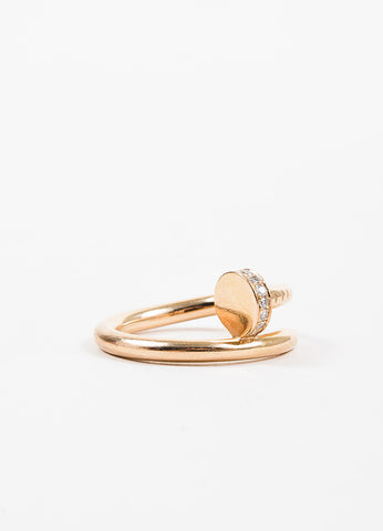 "18K Pink Gold Diamond ""Juste un Clou"" Wrap Around Nail Ring Sideview"