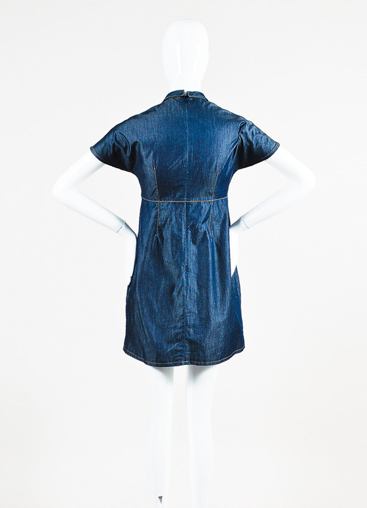 Carven Blue Denim Keyhole Pleated Fit and Flare Short Sleeve Dress Backview