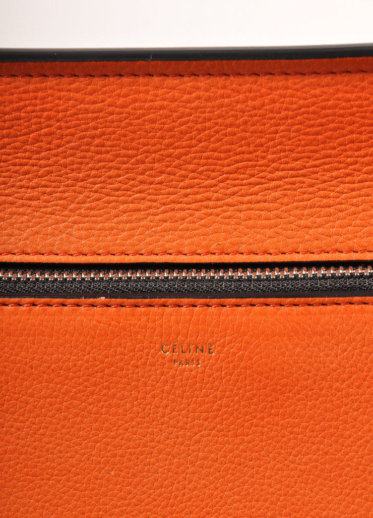 "Celine Orange ""Vermillion"" Leather Structured Large ""Edge"" Tote Bag Brand"