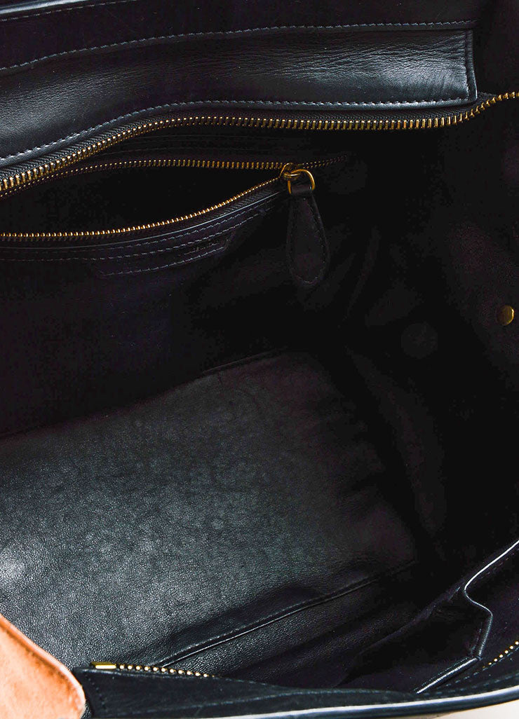 "Celine Black, Tan, and Beige Leather and Suede Winged ""Mini Luggage Tote"" Handbag Interior"