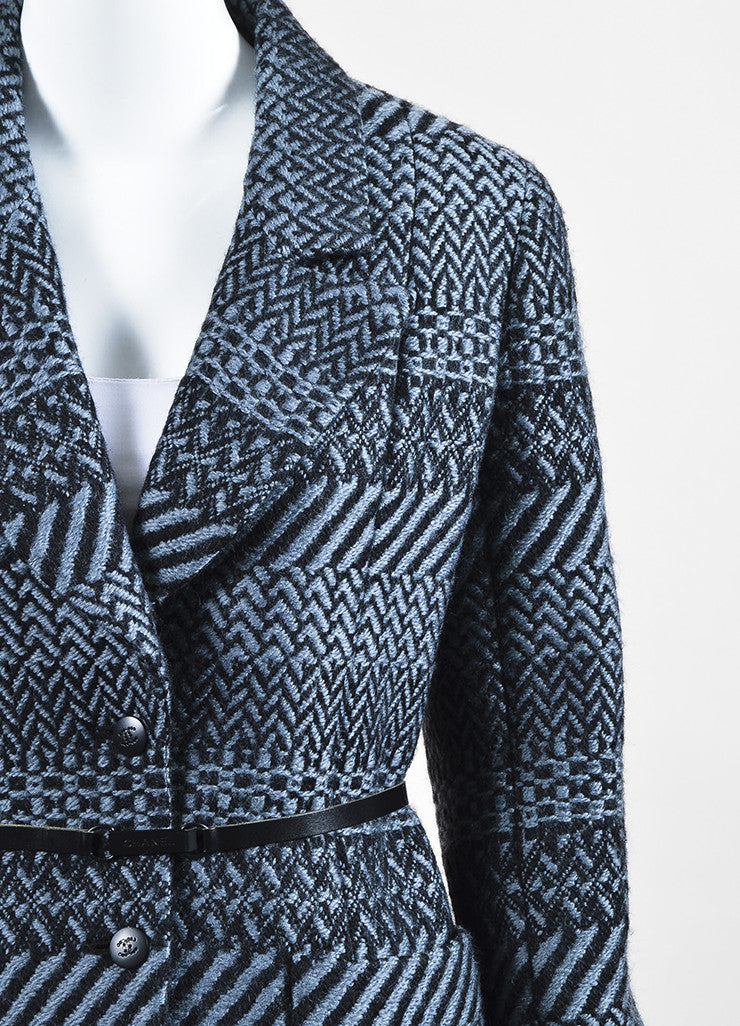 Chanel Fall 2000 Black Gray Wool Tweed Patterned Belted LS Sweater Jacket: detail