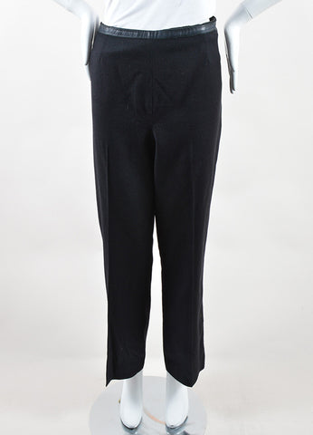 Chanel Black Wool and Cashmere Straight Leg Single Pleat Trousers Frontview
