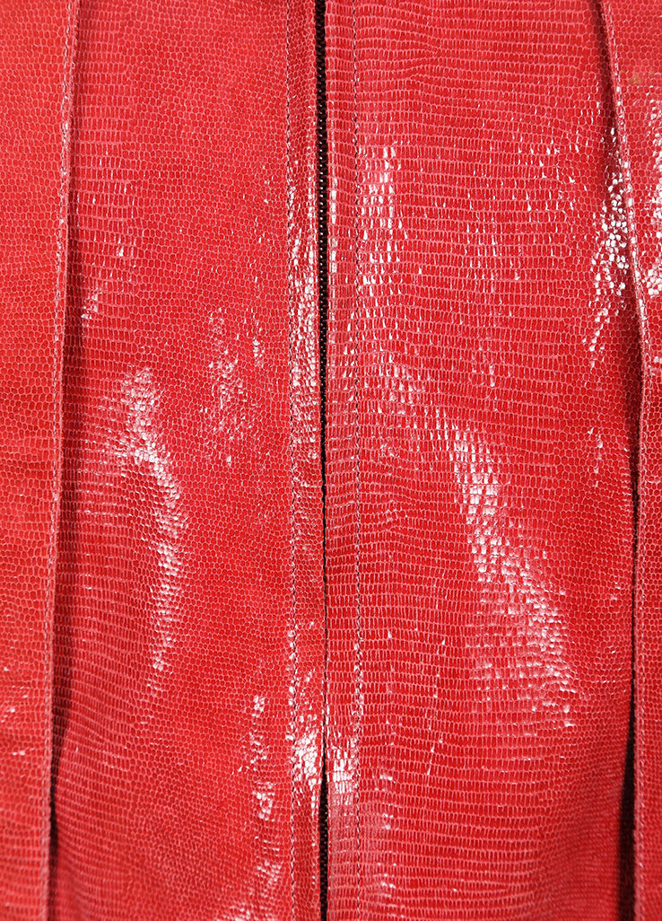 Chanel Red Leather Embossed Zip Front Vest Detail