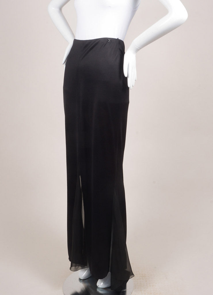 Chanel Black Silk Sheer Chiffon Insert Maxi Skirt Sideview