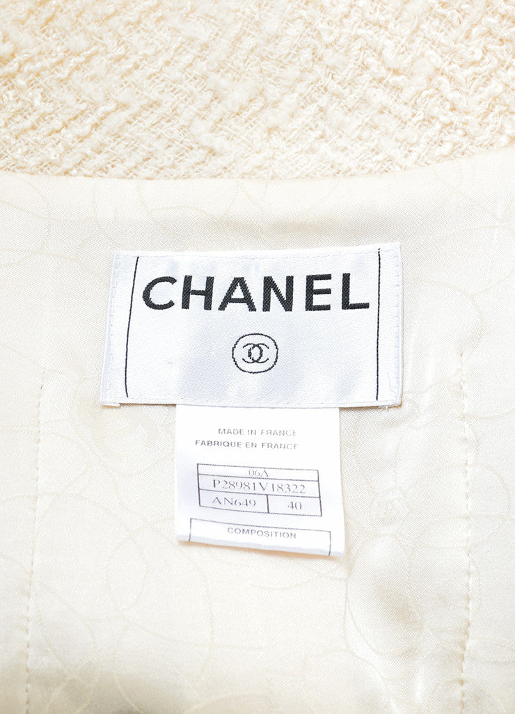 Chanel Cream, Red, and Navy Tweed Embellished Button Jacket Brand