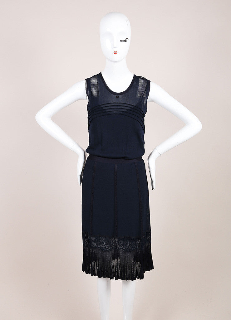 Chanel Navy Slinky Knit Jersey Lace Trim and Pleated Sleeveless Dress Frontview