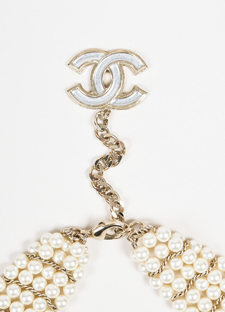 Chanel Gold Toned Faux Pearl Glass Stone 'CC' Flower Pedant Bib Necklace Detail 2