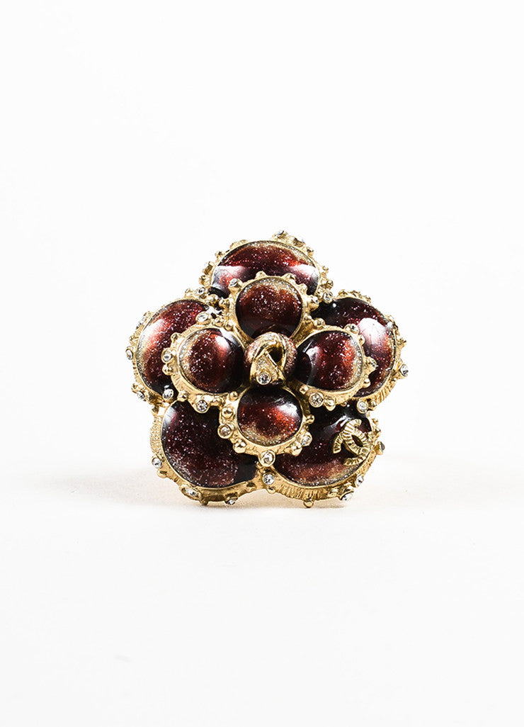 Chanel Gold Toned and Burgundy Enamel Crystal 'CC' Camellia Flower Ring Frontview