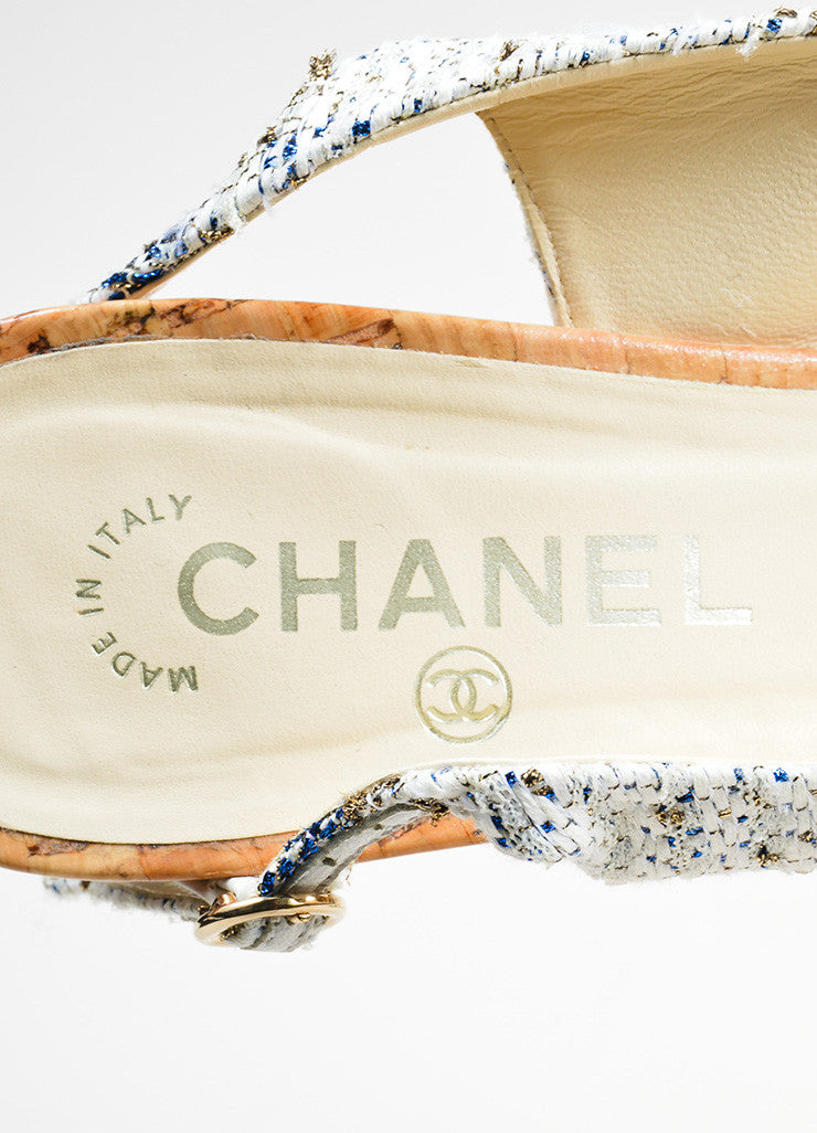 Blue and White Chanel Tweed Cork Swarovski Crystal 'CC' Slingback Pumps Brand