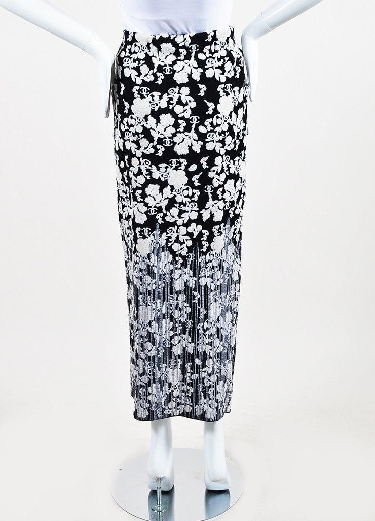 Chanel Black and Cream Cotton Blend Knit Floral Pattern Fitted Maxi Skirt Backview