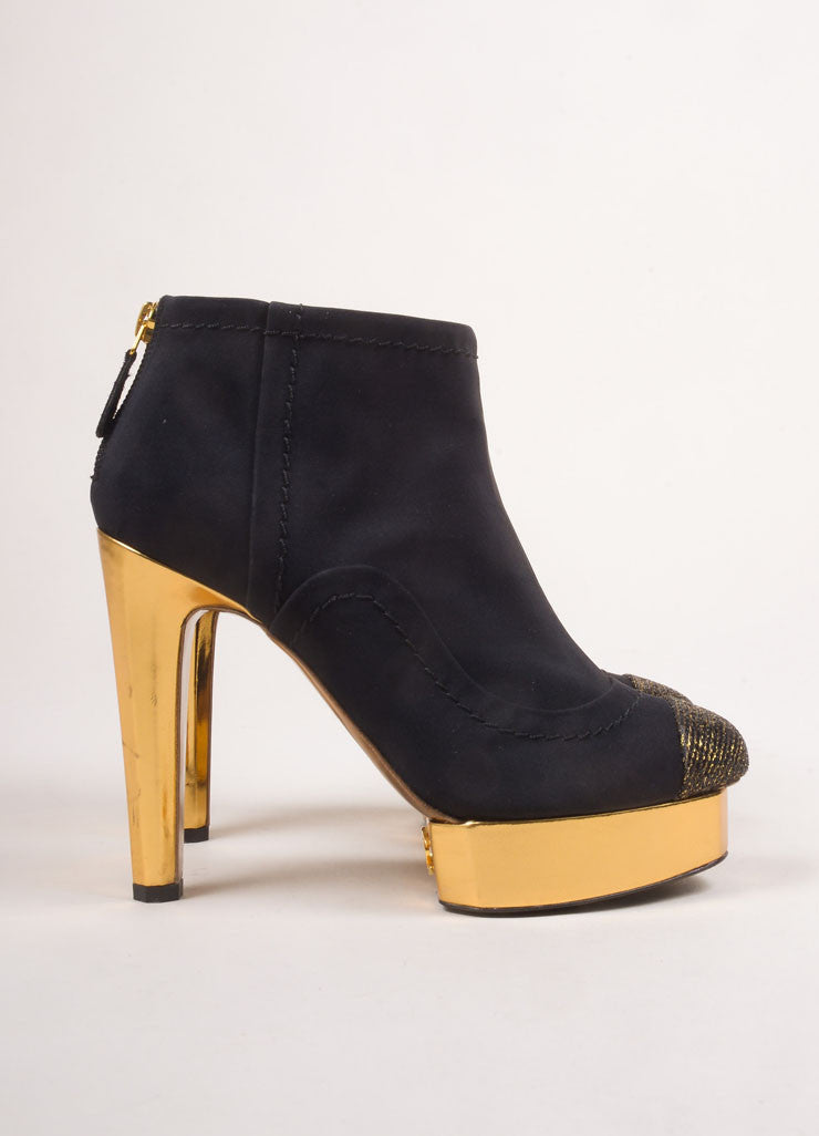 Chanel Black and Gold Toned Woven Metallic Glitter Cap Toe Platform Booties Sideview