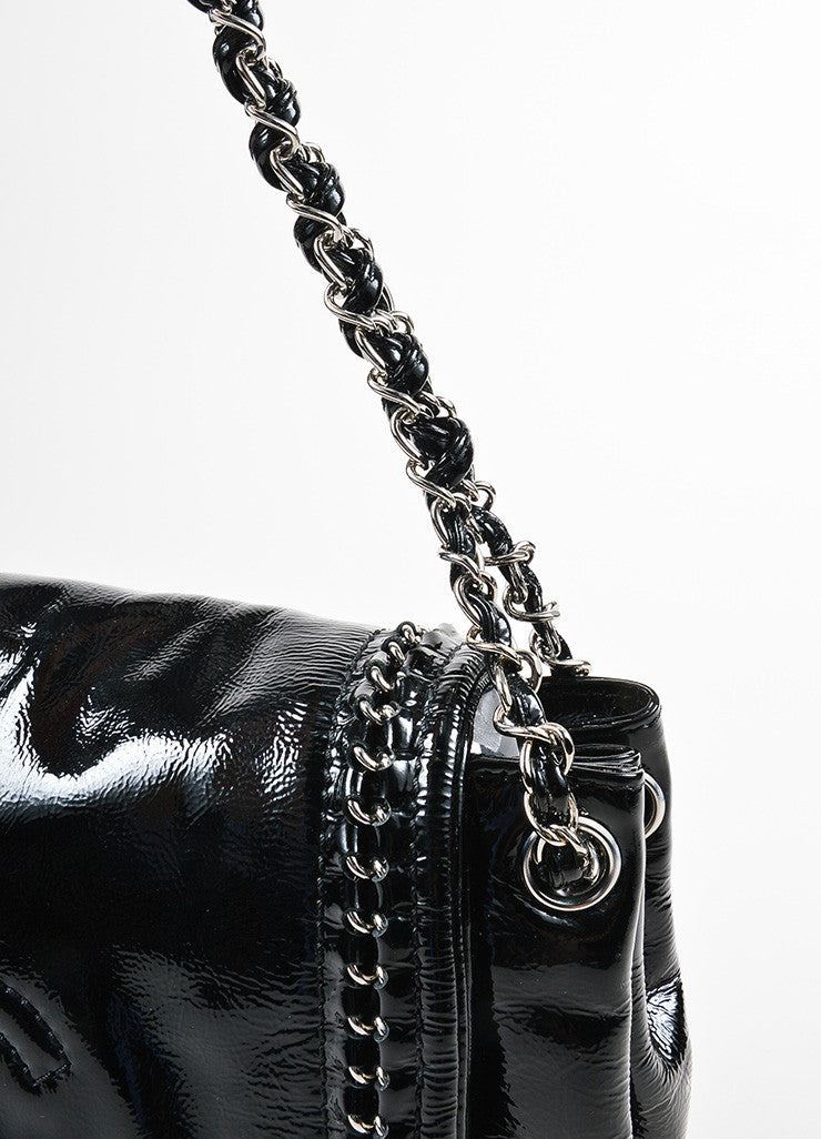 "Black Chanel Patent Leather Chain Strap ""Luxe Ligne Accordion"" Flap Shoulder Bag Detail 2"