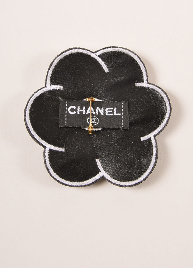 "Chanel Black and White Leather Camellia ""CC"" Logo Pin Brooch Backview"