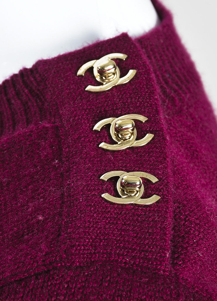 Chanel Maroon and Gold Toned Cashmere 'CC' Turnlock Detail Long Sleeve Sweater Dress Detail