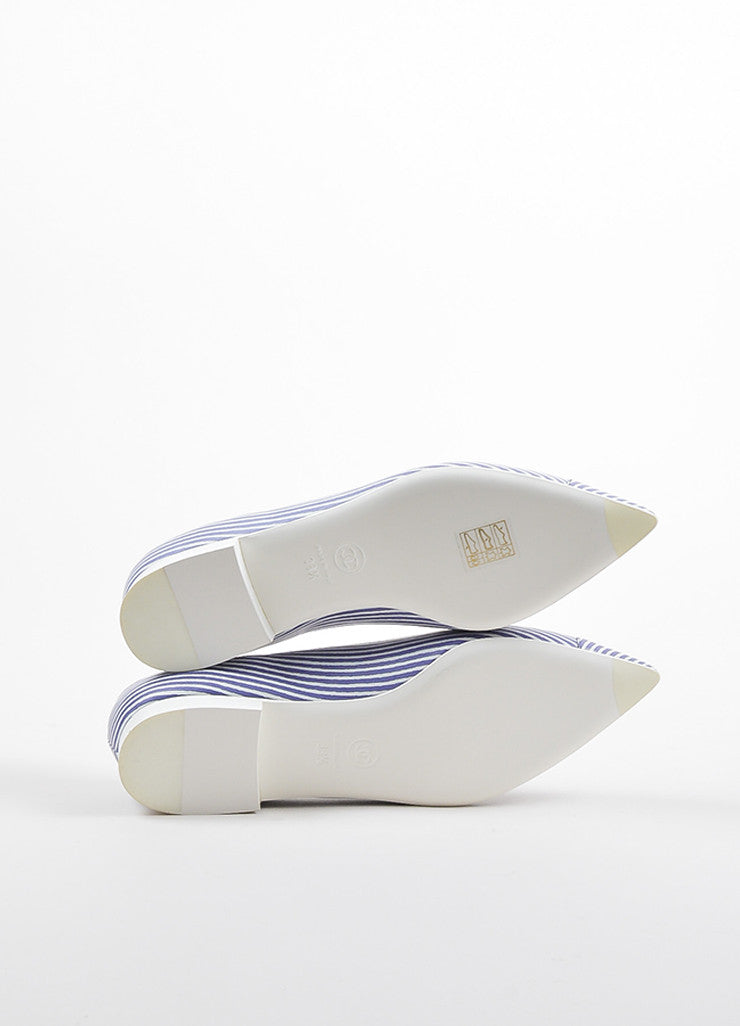 Chanel Blue and White Striped Leather Pointed Toe 'CC' Low Heel Flats Outsoles
