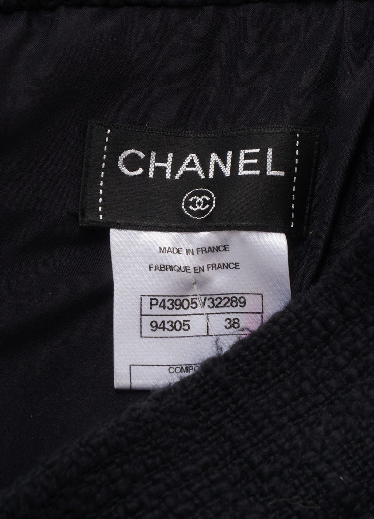 Chanel New With Tags Black Cotton Tweed Draped Pencil Skirt Brand