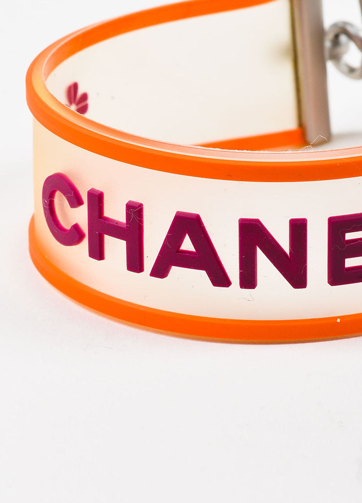 Silver Tone, Orange, and Purple Chanel Rubber Transparent Strap Bracelet Detail