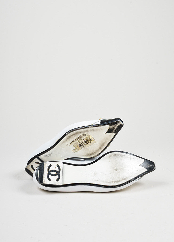 White, Black, and Gold Toned Chanel Tuxedo Collar Barbell Flats Outsoles
