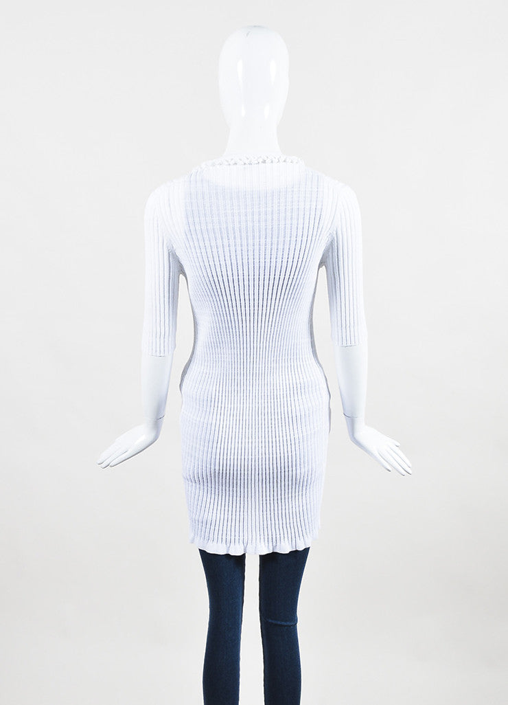 Chanel White Stretch Ribbed Knit Longline Short Sleeve Cardigan Backview