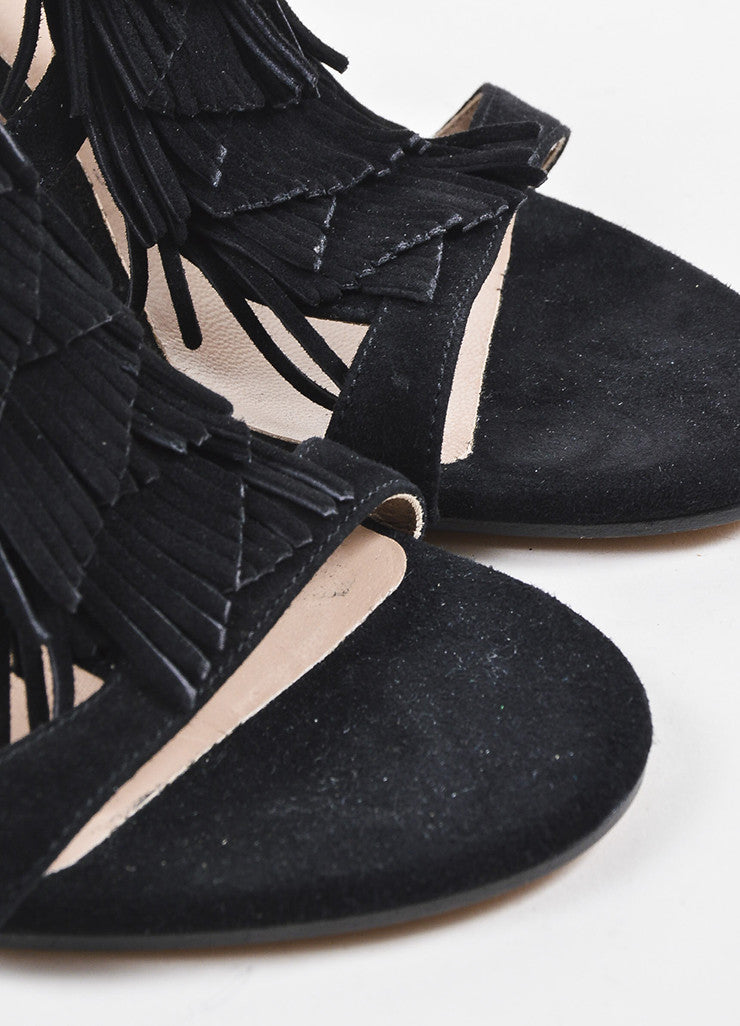Black Suede Leather Tiered Fringe Strappy Wedge Sandals Detail