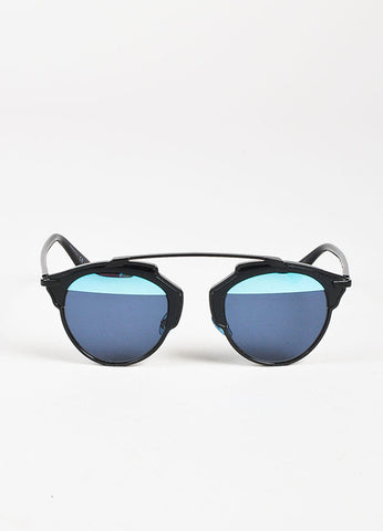 "Christian Dior Black and Blue Duo Tone ""Dior So Real"" Sunglasses Frontview"