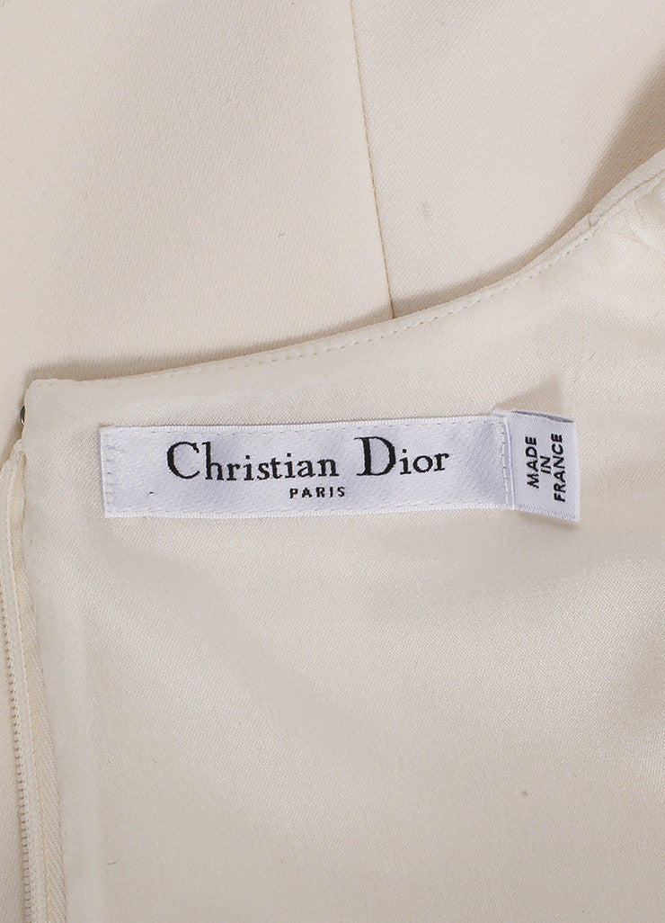 Christian Dior New With Tags Cream Crop Waist Stretch Wool Long Sleeve Flounce Dress Brand