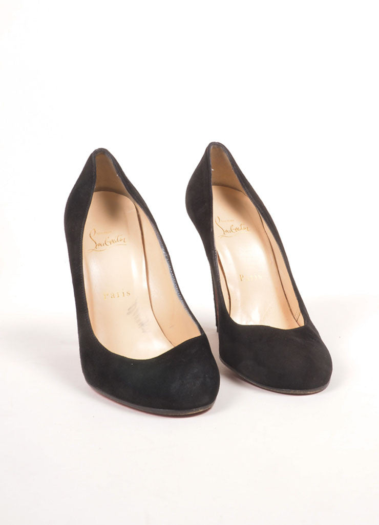 "Christian Louboutin Black Suede Leather ""Ron Ron 100mm"" Pumps Frontview"