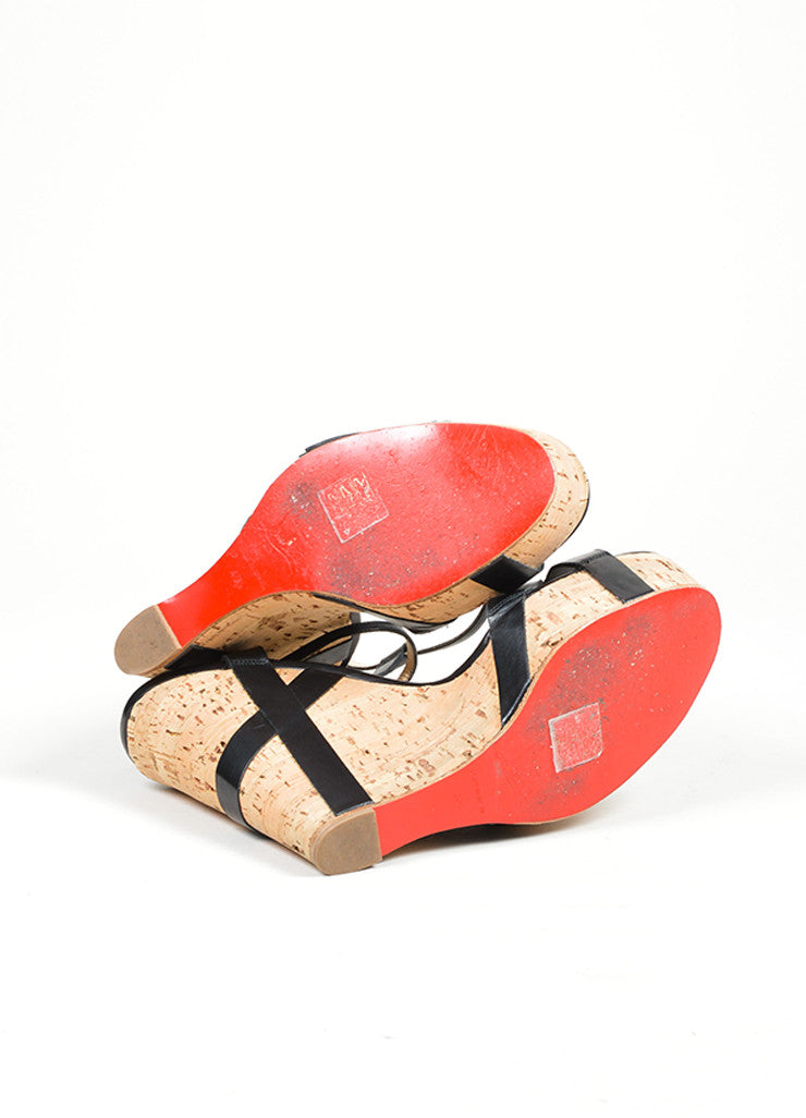 "Black Christian Louboutin Leather ""Miss Cristo 140"" Cork Wedge Sandals Outsoles"