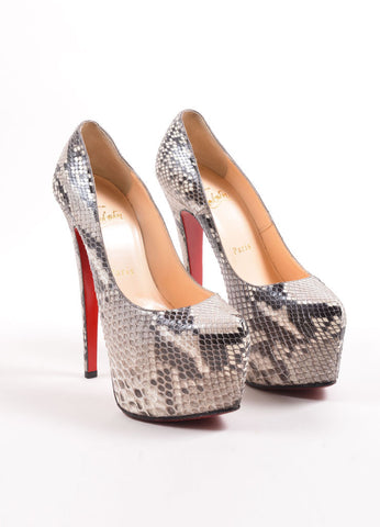"Christian Louboutin Grey Snakeskin ""Daffodile 160"" Platform Pumps Frontview"