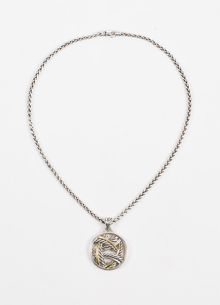 David Yurman Sterling Silver and 18K Yellow Gold Two Tone Cable Pendant Necklace Frontview
