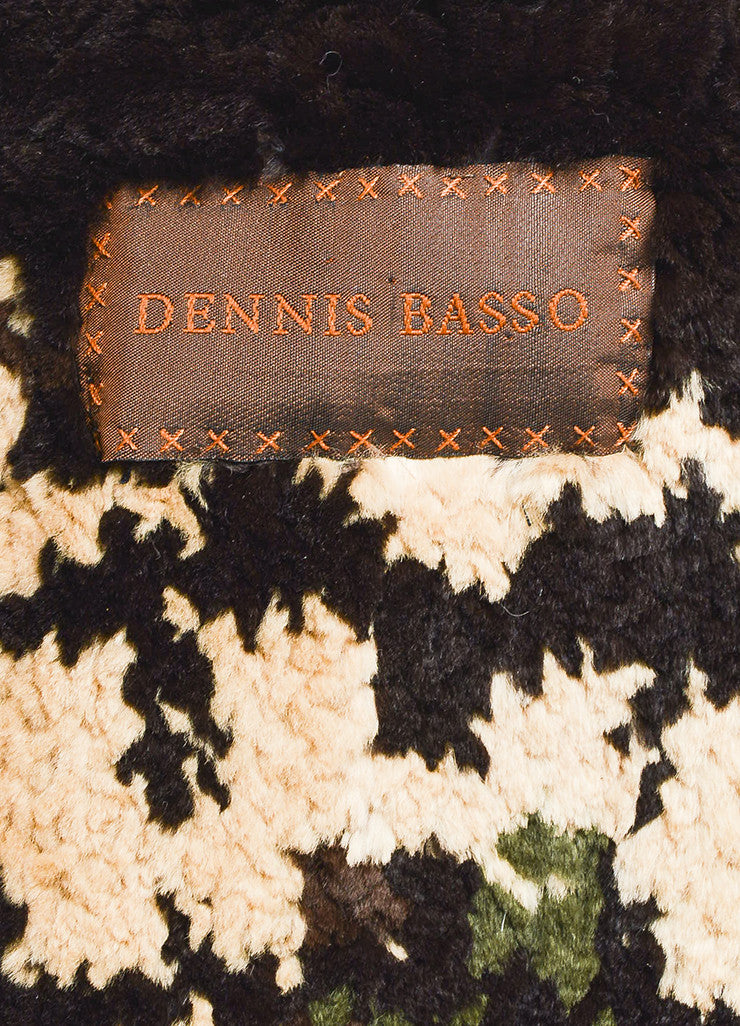 Dennis Basso Brown Multicolor Patterned Belted Fur Coat with Scarf Brand
