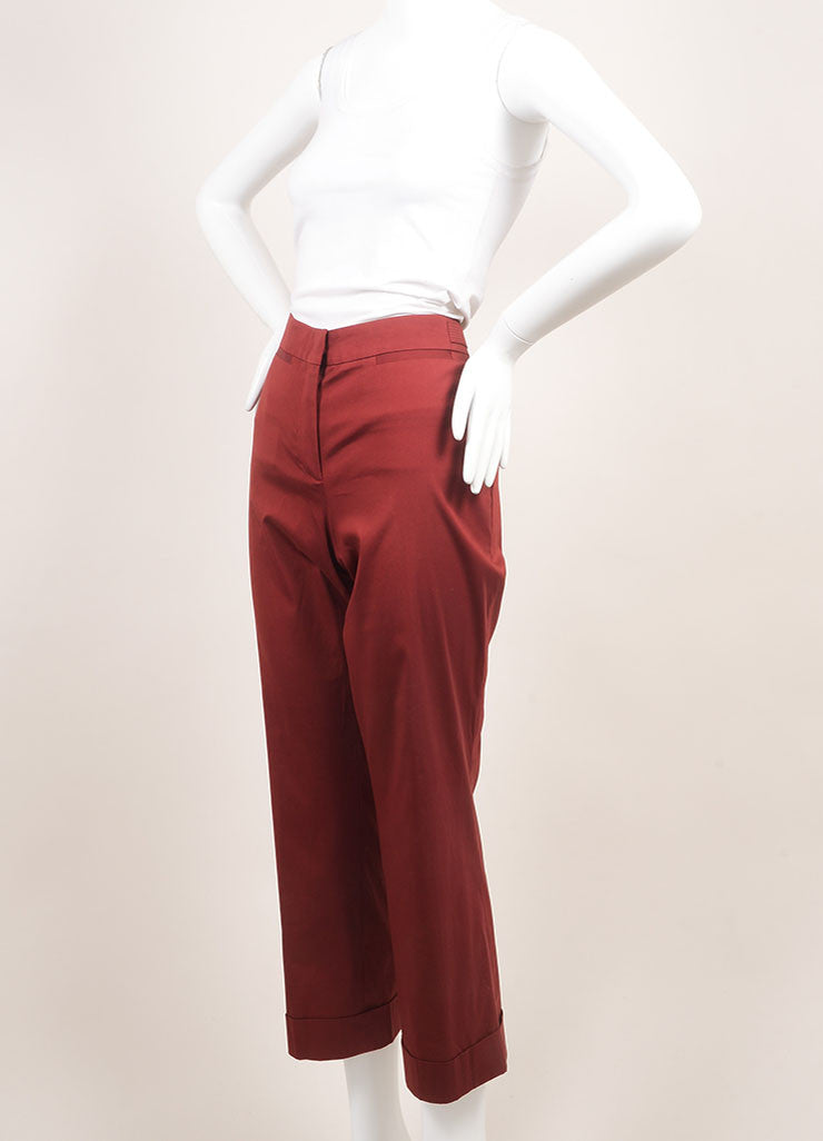 Derek Lam New With Tags Dark Red Cuffed and Crop Stretch Cotton Wide Leg Trousers Sideview