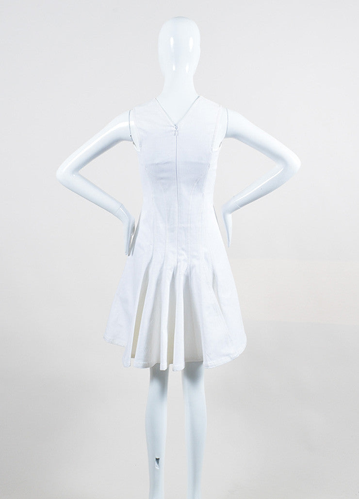 Derek Lam White Stretch Cotton Denim Sleeveless V-Neck Paneled and Flared Dress Backview