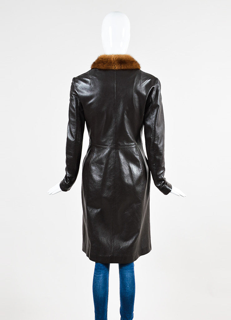 Dolce & Gabbana Brown Leather Fur Collar Long Jacket Backview