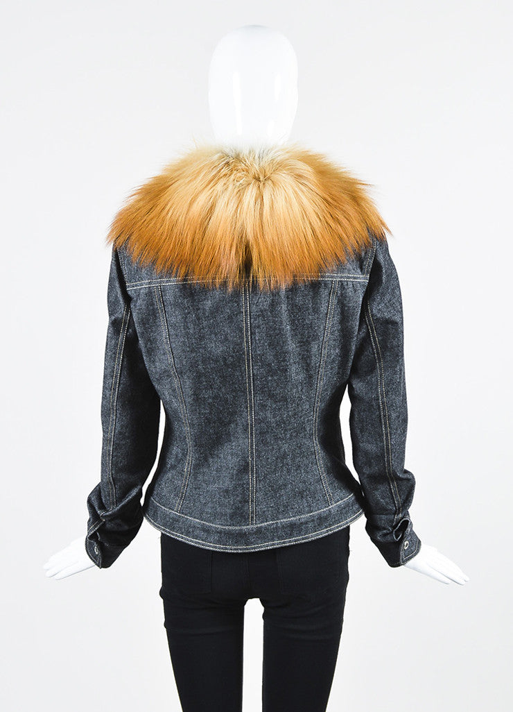 Dolce & Gabbana Dark Blue Denim Fox Fur Removable Collar Snap Front Jacket Backview