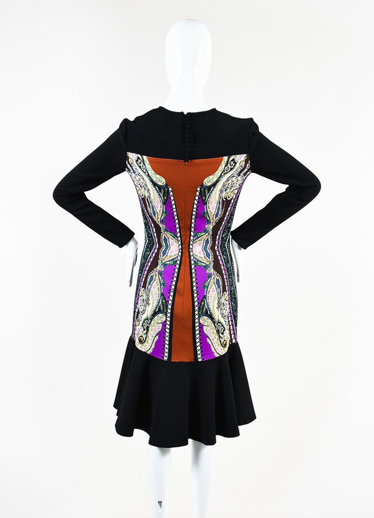 Etro Black, Brown, and Cream Wool Blend Multi Print Trumpet Hem Dress Backview
