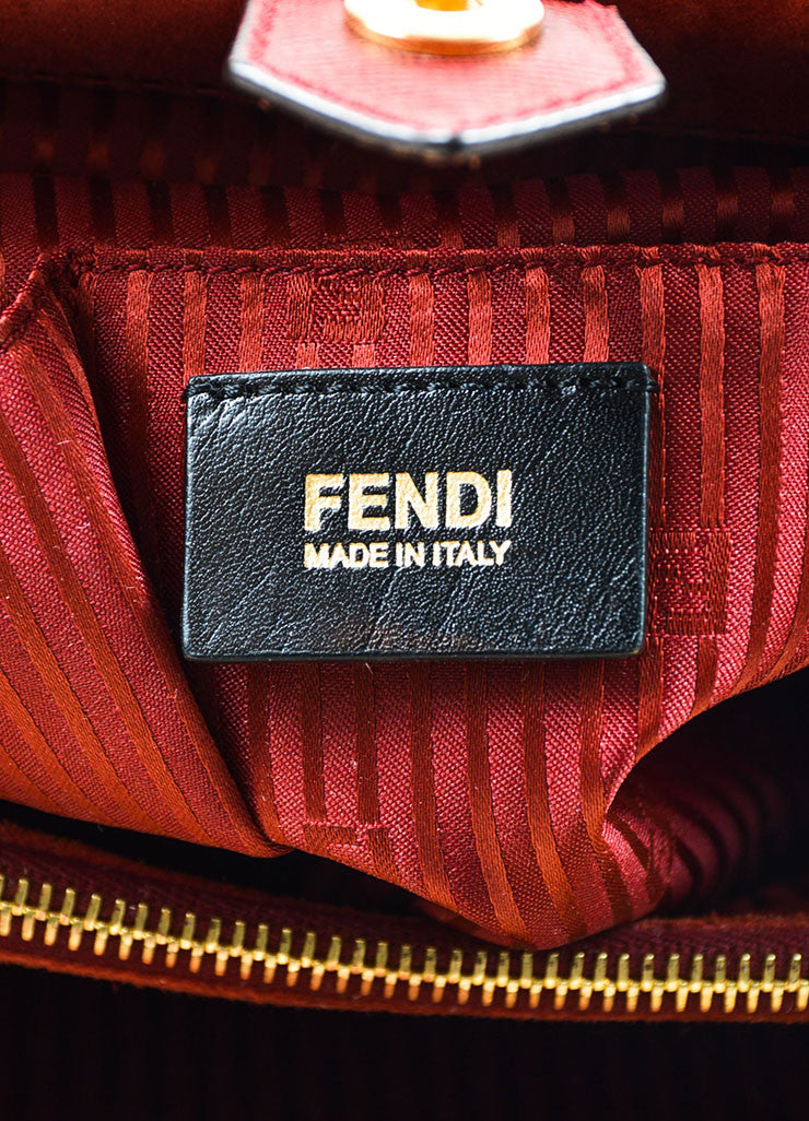 "Fendi Red Textured Leather Medium ""2Jours"" Removable Strap Frame Bag Brand"