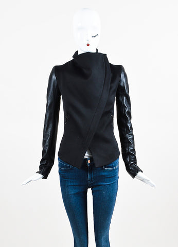 Gareth Pugh Black Leather Sleeve Off Centered Zipper Draped Collar Jacket Frontview 2