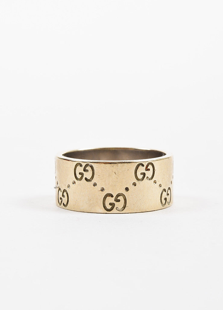 "Gucci 18K Yellow Gold 'GG' Engraved ""Icon Medium"" Band Ring Frontview"