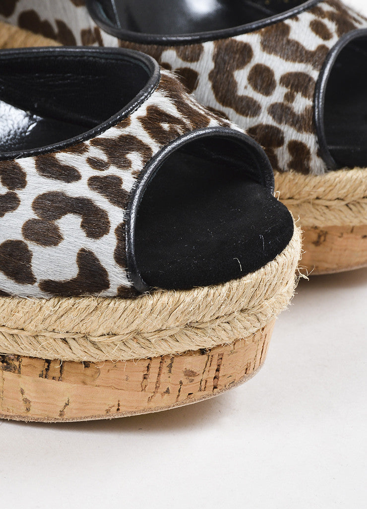 Blue-Grey and Brown Gucci Pony Hair Leopard Print Espadrille Wedges Detail 2