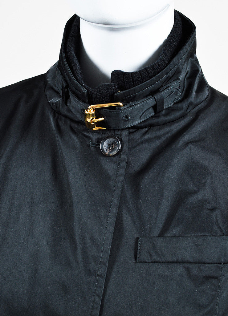 Gucci Black Nylon and Wool Ribbed Trim Double Zip Placket Jacket Detail