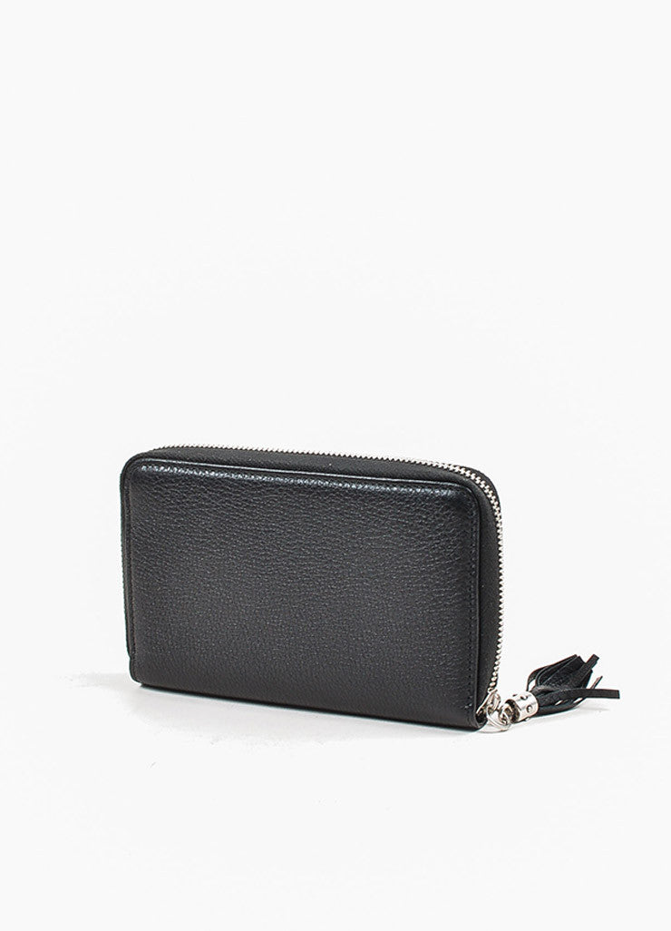 "Gucci Black Grained Leather Silver Toned Studded ""Soho"" Zip Wallet Backview"