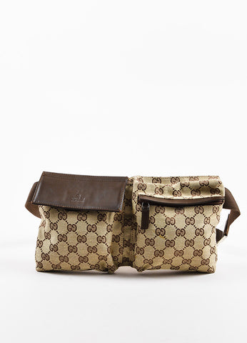 "Gucci Tan and Brown Canvas Leather Trim Monogram Print ""Original GG"" Belt Bag Frontview"