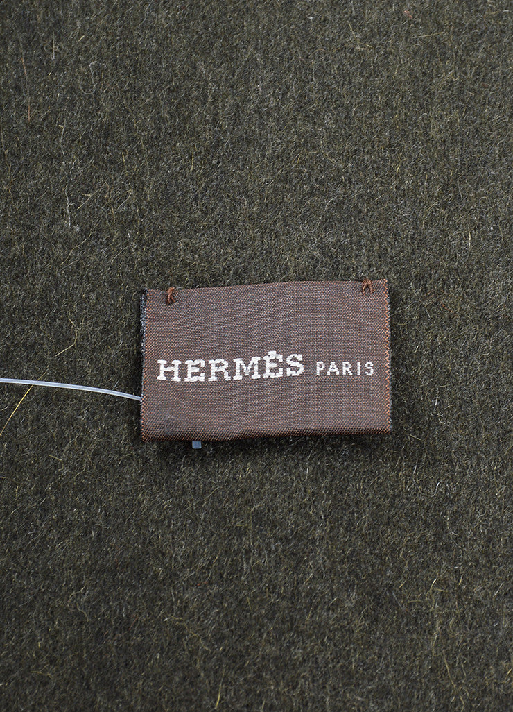"Hermes Black Dark Green Cashmere Perforated Logo Reversible ""Evelyne"" Scarf Brand"