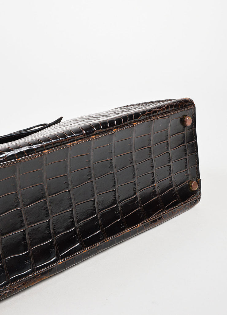 "Hermes Brown and Gold Toned Porosus Shiny Crocodile ""Kelly 32"" Handbag Bottom View"